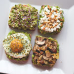Avocado Toast - 4 ways! With sauted mushrooms, with feta and toasted pine nuts, with guacamole and sprouts, and with a sunny side up egg. Delicious, easy, and healthy breakfast! I love these recipes. | thehealthfulideas.com