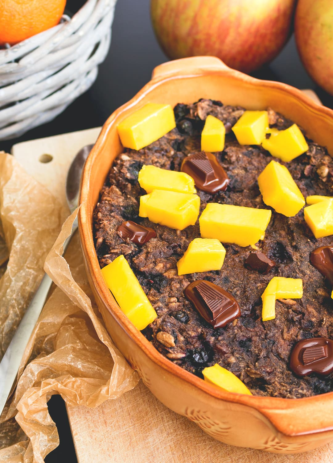 Blueberry Baked Oatmeal - delicious comforting breakfast recipe that happens to be good for you. I love baked oatmeal! Great topped with tropical fruits, chocolate, and nut butter. | thehealthfulideas.com