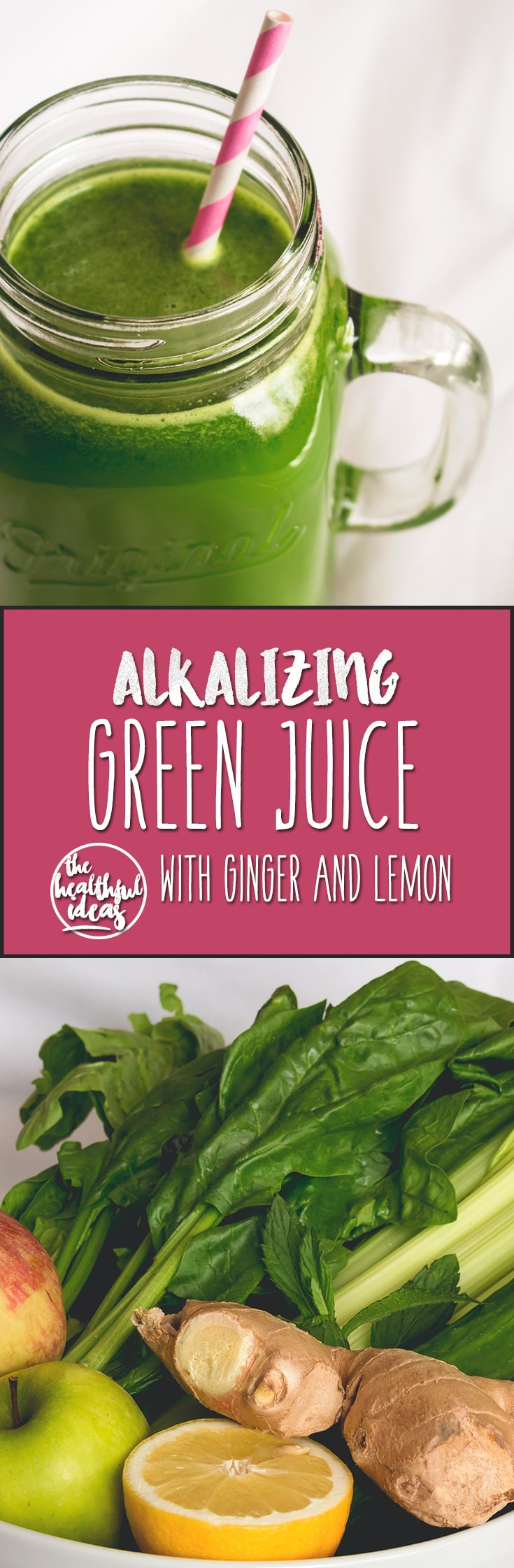 Green Juice with Ginger - delicious alkalizing green juice with ginger and lemon. Full of amazing vitamins and minerals your body craves! One green juice a day keeps the doctor away. I love this recipe! | thehealthfulideas.com