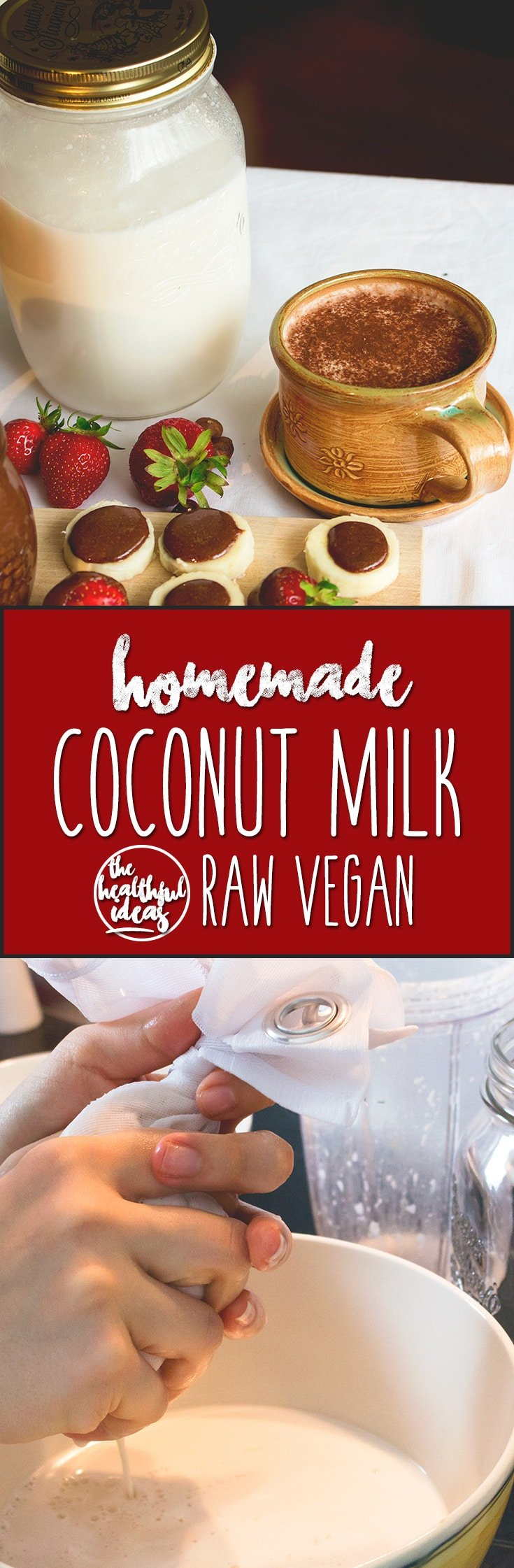 Coconut Milk - easy way to make homemade raw vegan coconut milk. Only 2 ingredients! I love this recipe, coconut milk is my favorite plant milk. | thehealthfulideas.com