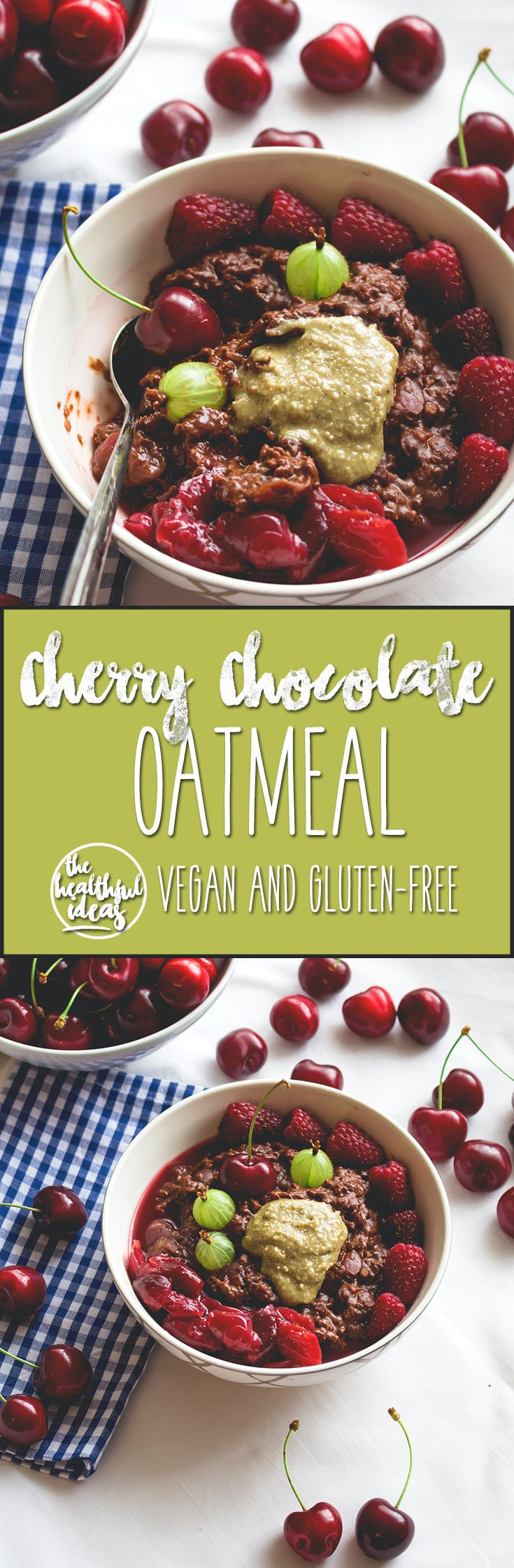 Cherry Chocolate Oatmeal - healthy vegan breakfast recipe. Easy to make and really delicious! I love to make this in the summer! Cherries, cacao, plant milk, oats - that's basically it! | thehealthfulideas.com