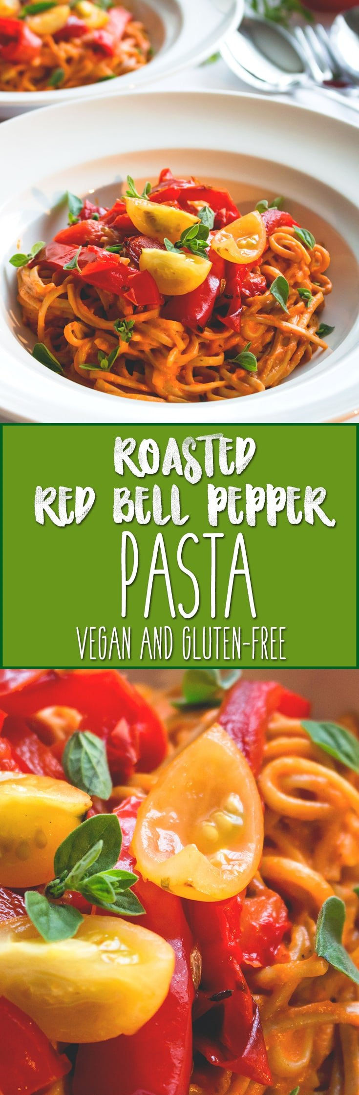 Roasted Red Bell Pepper Pasta - delicious, creamy, filling, and full of flavor! This is one of my most favorite vegan pasta recipes. | thehealthfulideas.com