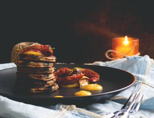 Blueberry Vanilla Pancakes with Caramelized Figs and Mango Sauce - delicious healthy breakfast. I love these! They taste amazing, look fancy, but are really easy to make! Gluten free & dairy free! | thehealthfulideas.com