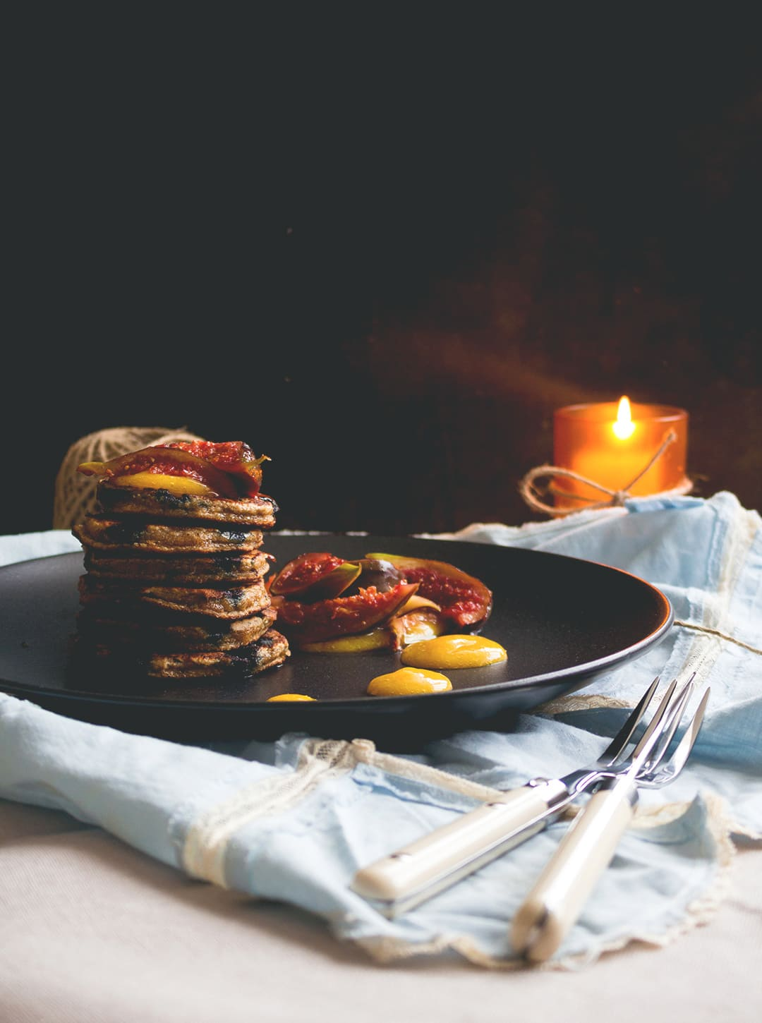 Blueberry Vanilla Pancakes with Caramelized Figs and Mango Sauce - delicious healthy breakfast. I love these! They taste amazing, look fancy, but are really easy to make! Gluten free & dairy free!   thehealthfulideas.com