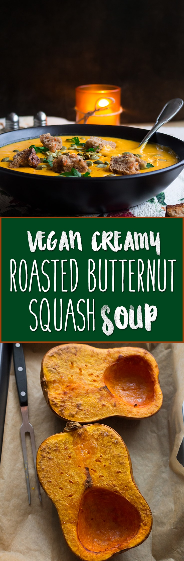 Vegan Creamy Roasted Butternut Squash Soup - delicious and easy fall recipe and the ultime comfort food! It's freezer friendly so you can double the recipe to enjoy it later. | thehealthfulideas.com