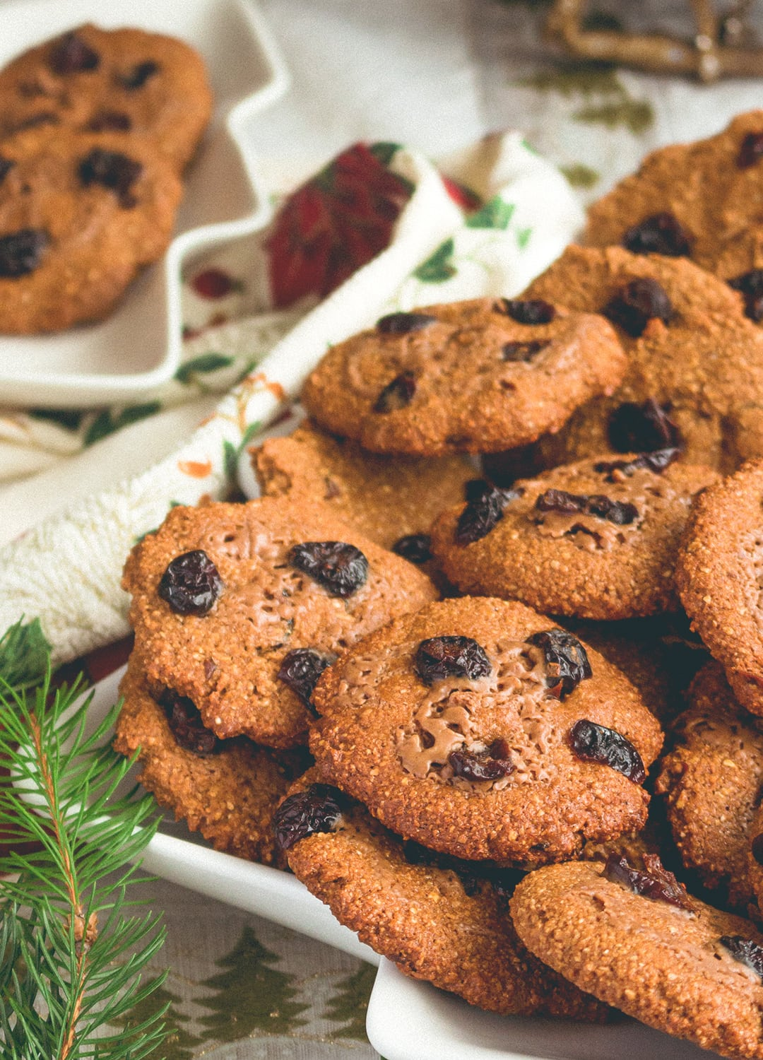 Cranberry Oat Cookies - crispy on the edges, chewy in the middle. These gingerbread flavored cookies are absolutely scrumptious! Our favorite Christmas recipe! | thehealthfulideas.com