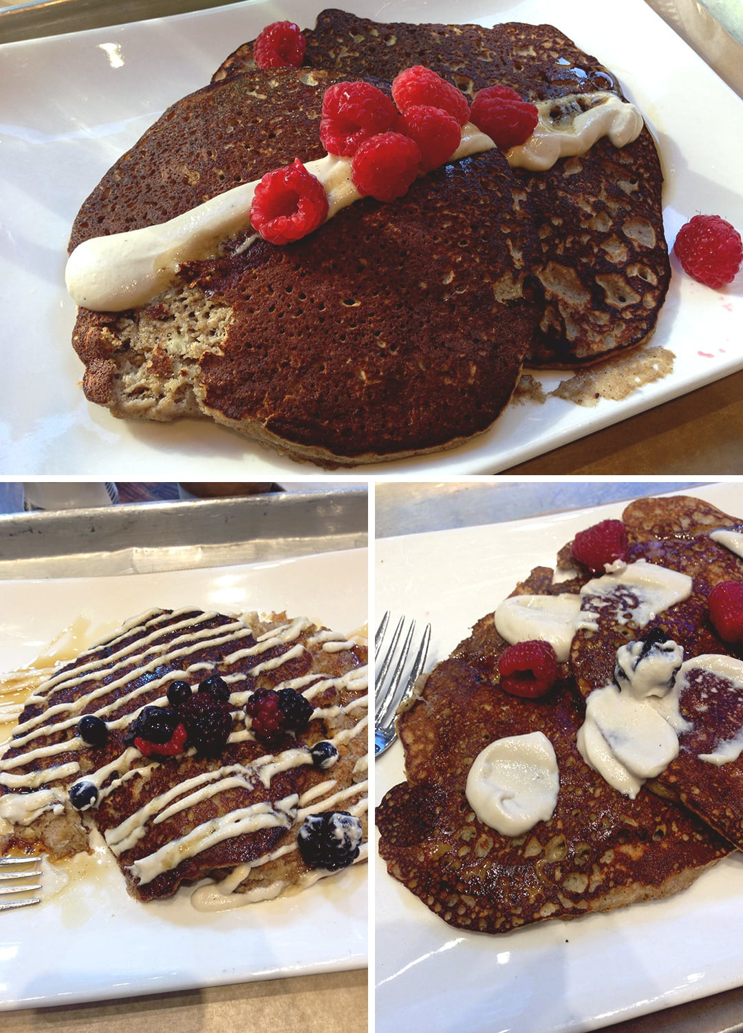 Where to Eat in New York: Hu Kitchen pancakes - Jordy cakes with maple syrup and cashew cream - Union Square location | thehealthfulideas.com