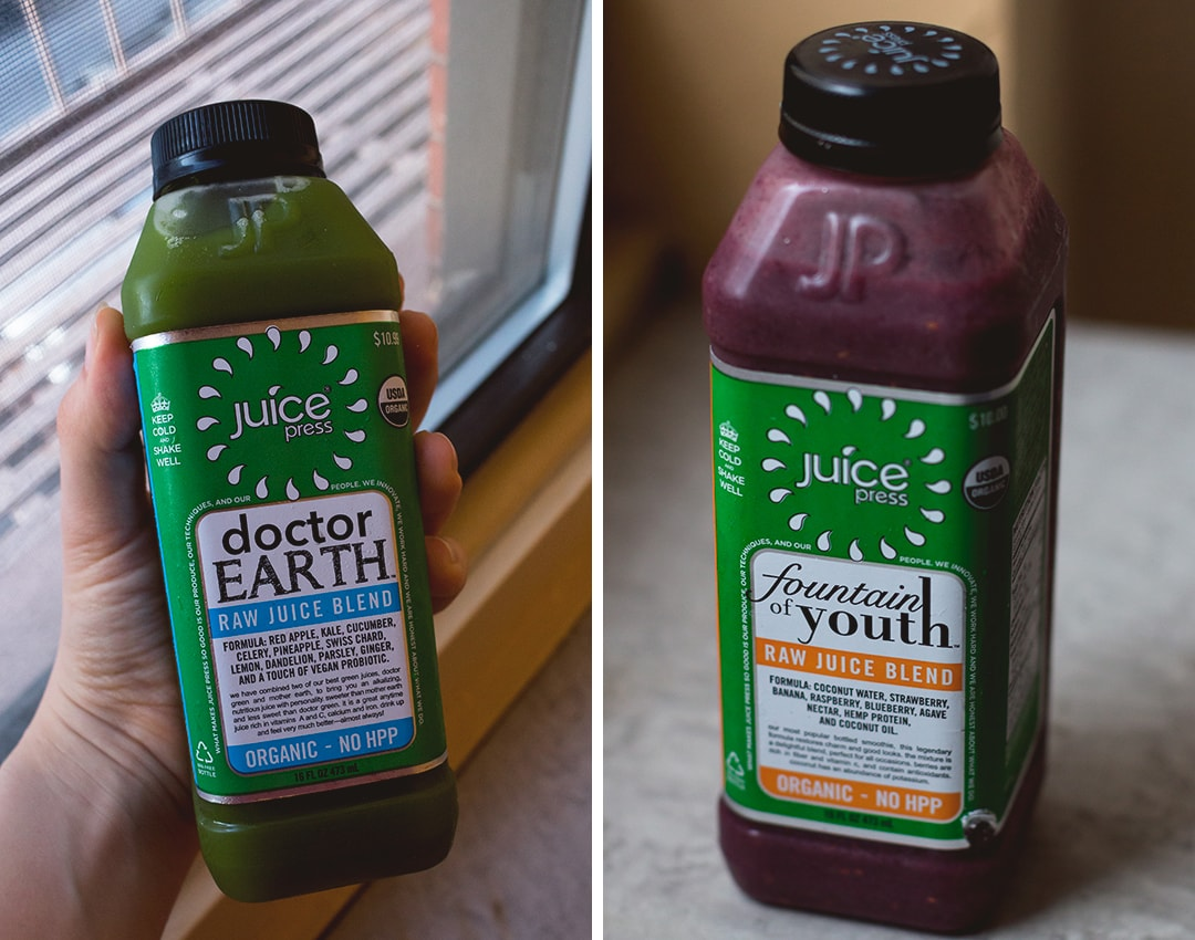 Where to Eat in New York: Juice Press New York - Doctor Earth Juice and Fountain of Youth Smoothie  | thehealthfulideas.com