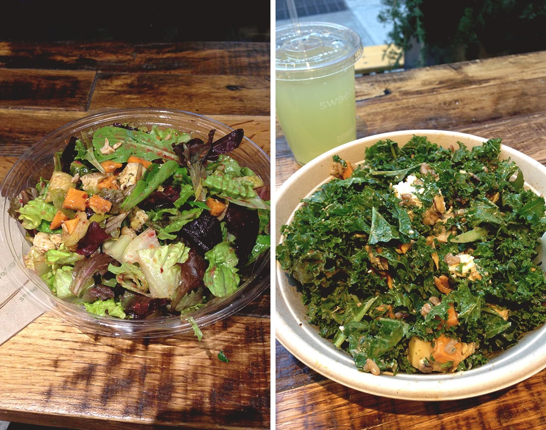 Where to Eat in New York: Sweet Green Salad bar - Roasted Turkey with Sweet Potatoes and Cranberry Vinaigrette on the left and Harvest bowl on the right. Really delicious! | thehealthfulideas.com