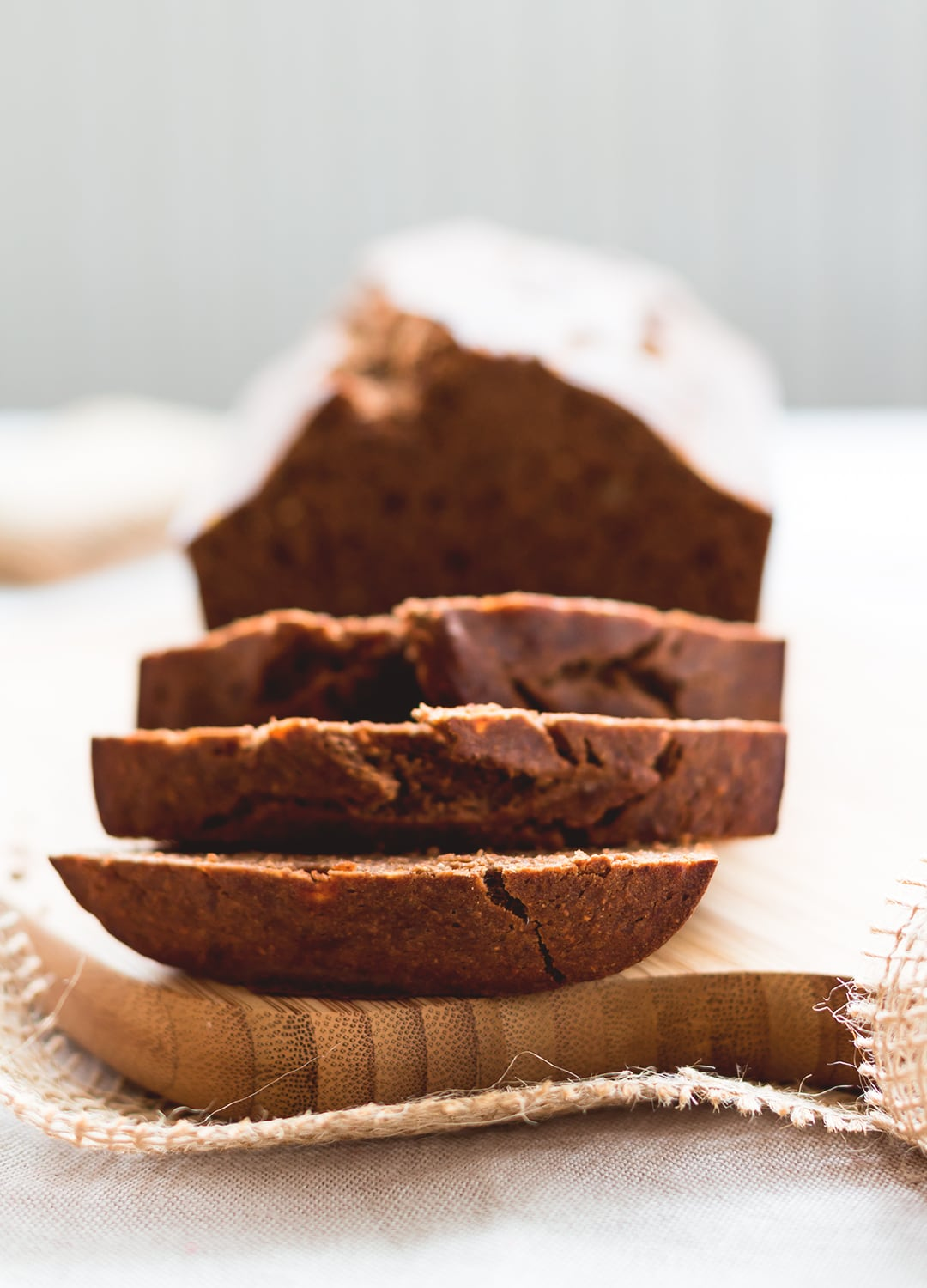Healthy Banana Bread - delicious, sweet, hearty, and great with homemade nutella! This banana bread recipe is great for quick breakfast or a snack with raspberry chia jam or coconut yoghurt. | thehealthfulideas.com