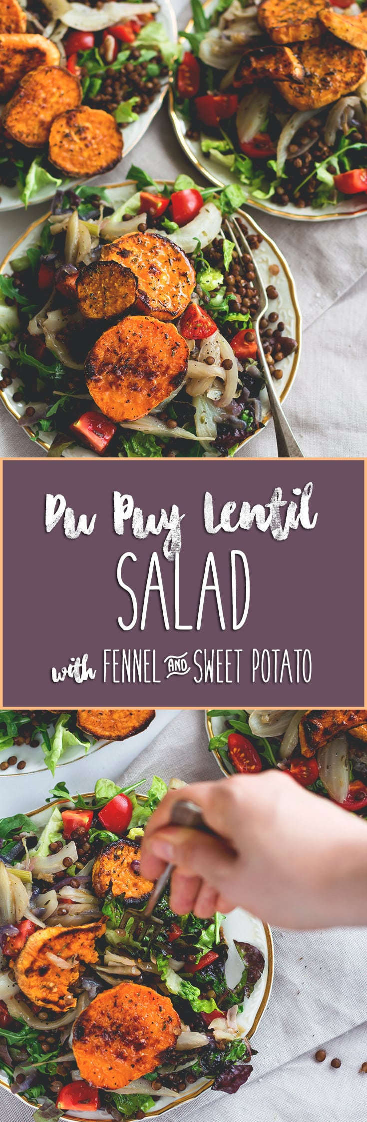 Du Puy Lentil Salad with Fennel and Sweet Potatoes - we LOVE this recipe! It's filling, flavorful, vegan, and really easy to make. Du Puy lentils have a nutty flavor and combined with the sweet potatoes and fennel it's absolutely devine! | thehealthfulideas.com