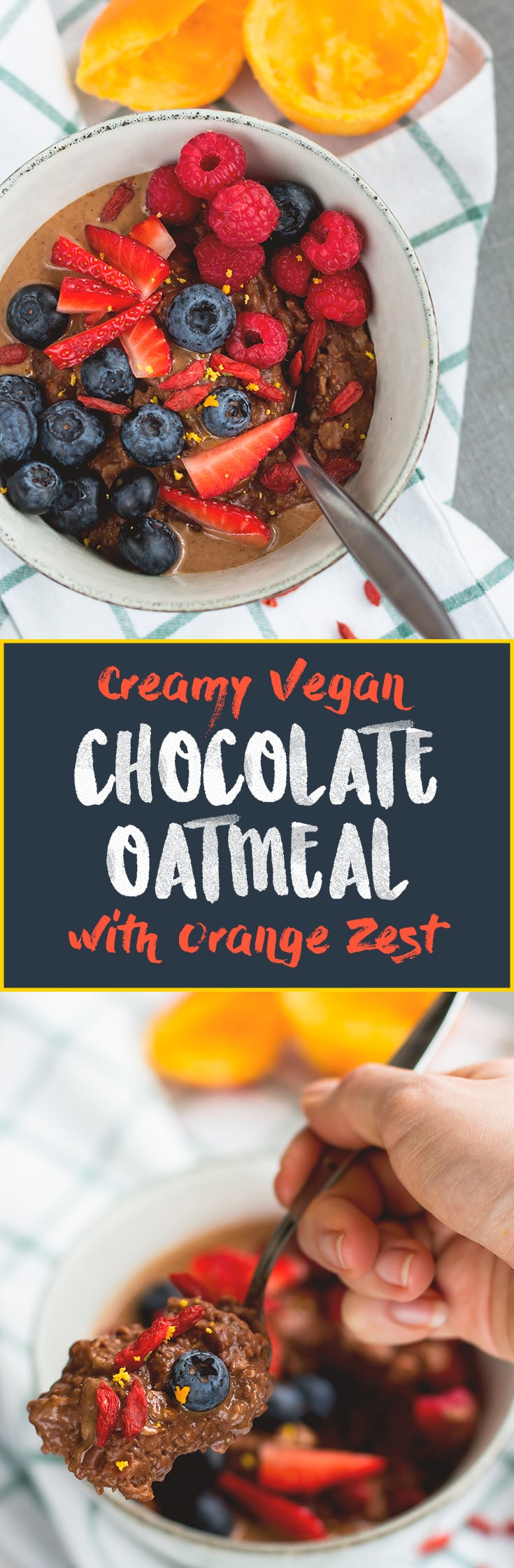 Chocolate Oatmeal with Orange Zest - delicious chocolatey oatmeal recipes that's easy to make and really tasty! I love the orange chocolate combiniation! This literally tastes like a dessert. Vegan, gluten-free, and good for you! | thehealthfulideas.com
