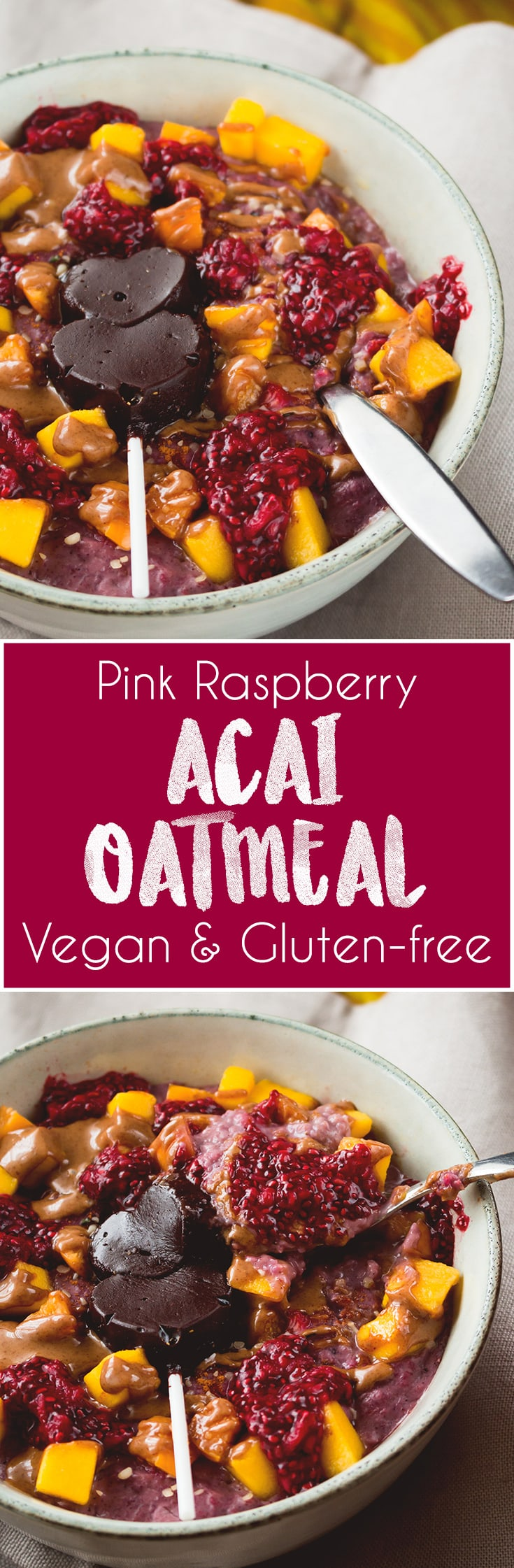 Pink Raspberry Acai Oatmeal is my new favorite breakfast! What day of the week would you say no to a bowl of delicious pink oatmeal? It's hearty, creamy, satisfying, and amazing for brightening a cold gloomy morning! | thehealthfulideas.com