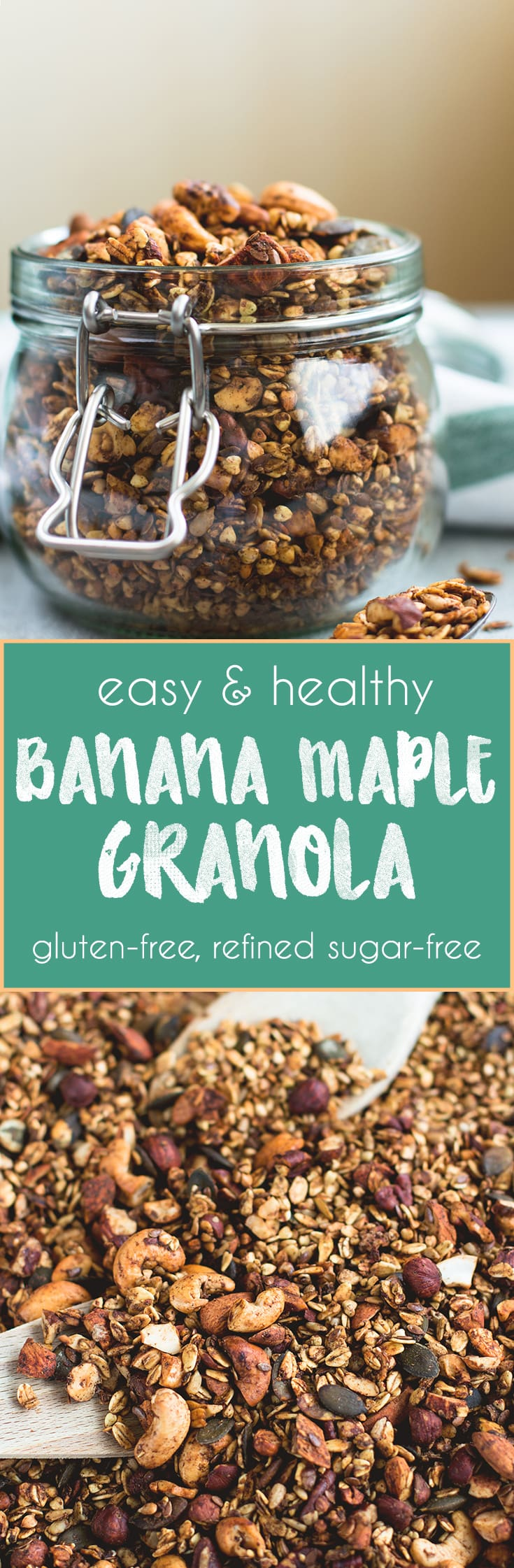 Maple Banana Granola - delicious easy to make granola full of nuts and seeds. Gluten-free and refined-sugar free! I love this granola, it's so simple yet so heavenly. | thehealthfulideas.com