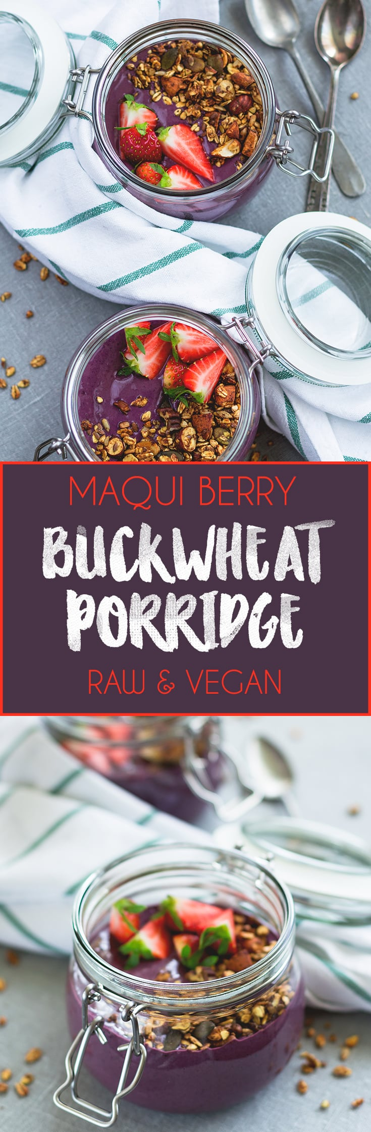 Raw Maqui Berry Buckwheat Porridge - raw soaked buckwheat, maqui berry powder, cacao, frozen berries, and a couple more delicious ingredients. I love this recipe, it's my go to breafast! So easy, healthy, and satisfying! | thehealthfulideas.com