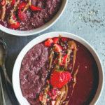 Berry Chocolate Chia Parfait - delicious vegan breakfast you wil love! Chocolate Acai chia pudding and berry chocolate sorbet. (raw, vegan, GF) | thehealthfulideas.com