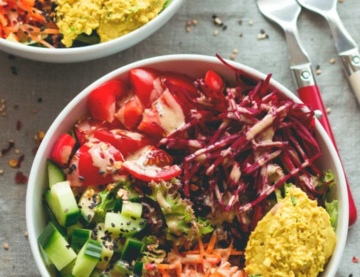 Black Rice Salad Bowl with Tahini Dressing - easy to make fresh summer salad. I love to make this ahead for busy work days! Tomatoes, cucumber, beets, carrots, hummus, lettuce, black rice, and tahini dressing. (vegan, GF) | thehealthfulideas.com