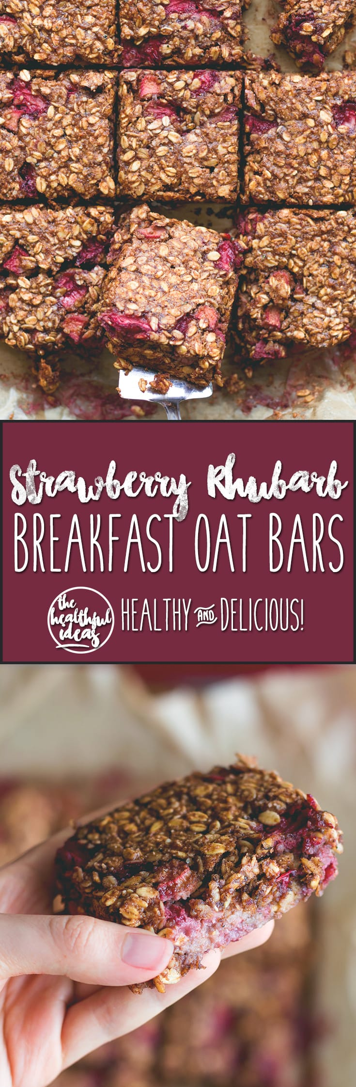 Strawberry Rhubarb Breakfast Oat Bars - delicious breakfast bars that taste totally like a dessert. You'll love this recipe. The rhubarb strawberry combination with maple syrup is divine! It tastes like marzipan! | thehealthfulideas.com