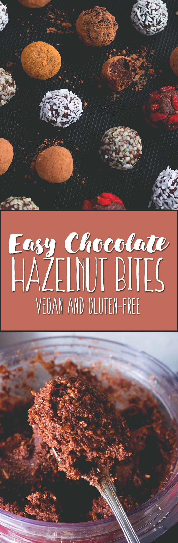 Chocolate Hazelnut Bites - sweet and chocolatey bliss balls, delicious any time of the year. A perfect snack for busy days. Vegan and absolutely heavenly! | thehealthfulideas.com