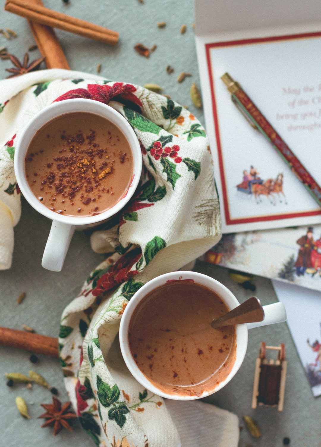 Almond Chai Hot Chocolate - incredibly creamy, delicious, and sweet. Almond milk, cacao, almond butter, tahini, homemade chai spice mix, sea salt, and maple syrup. So yummy! You'll love this hot chocolate, it's so easy to make. (vegan, GF)   thehealthfulideas.com