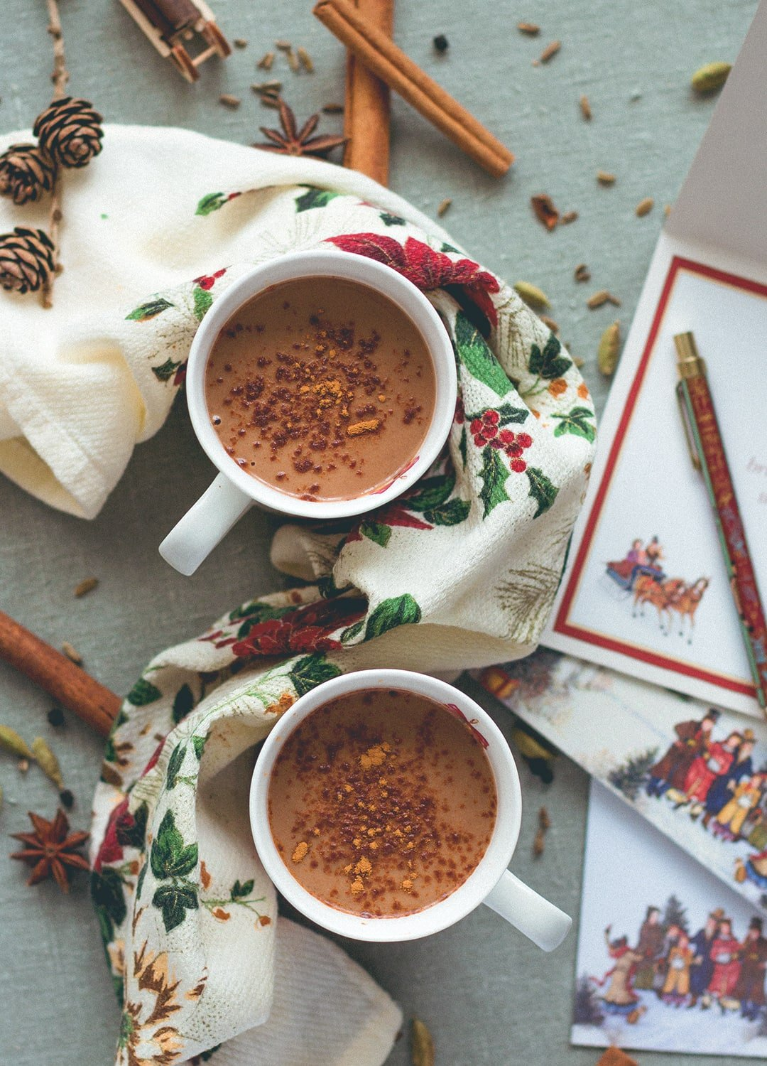 12 Christmas Recipes You Need to Make This Year: Almond Chai Hot Chocolate - incredibly creamy, delicious, and sweet. Almond milk, cacao, almond butter, tahini, homemade chai spice mix, sea salt, and maple syrup. So yummy! You'll love this hot chocolate, it's so easy to make. (vegan, GF) | thehealthfulideas.com