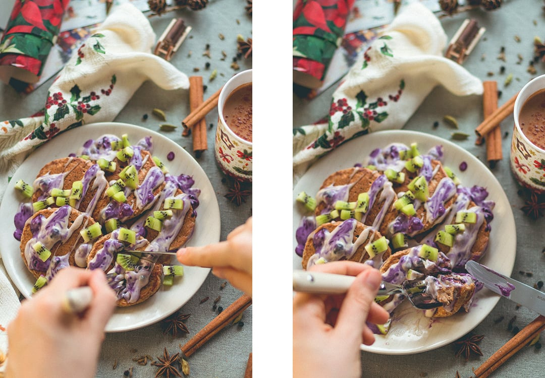 Chai Spiced Vegan GF Pancakes with Cashew Cream - incredibly fluffy, sweet, soft, comforting chai pancakes. YUM! They're easy to flip, too!   thehealthfulideas.com
