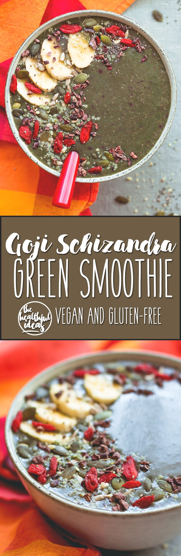 Goji Schizandra Green Smoothie - a green smoothie that actually tastes good! Full of antioxidants and all things health. I love this smoothie recipe and you will too! | thehealthfulideas.com