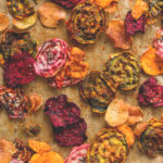 Oven Baked Veggie Chips - red, yellow, and pink beets, sweet potatoes, and some regular potatoes is all you need! Plus your favorite seasoning. You'll absolutely love these. Crunchy & delicious.   thehealthfulideas.com
