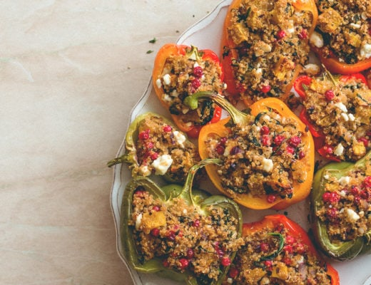 Quinoa Stuffed Bell Peppers with Butternut Squash, Cranberries, and sage (vegan, GF) I totally love this recipe! Perfect for fall, comforting, hearty, and filling. | thehealthfulideas.com