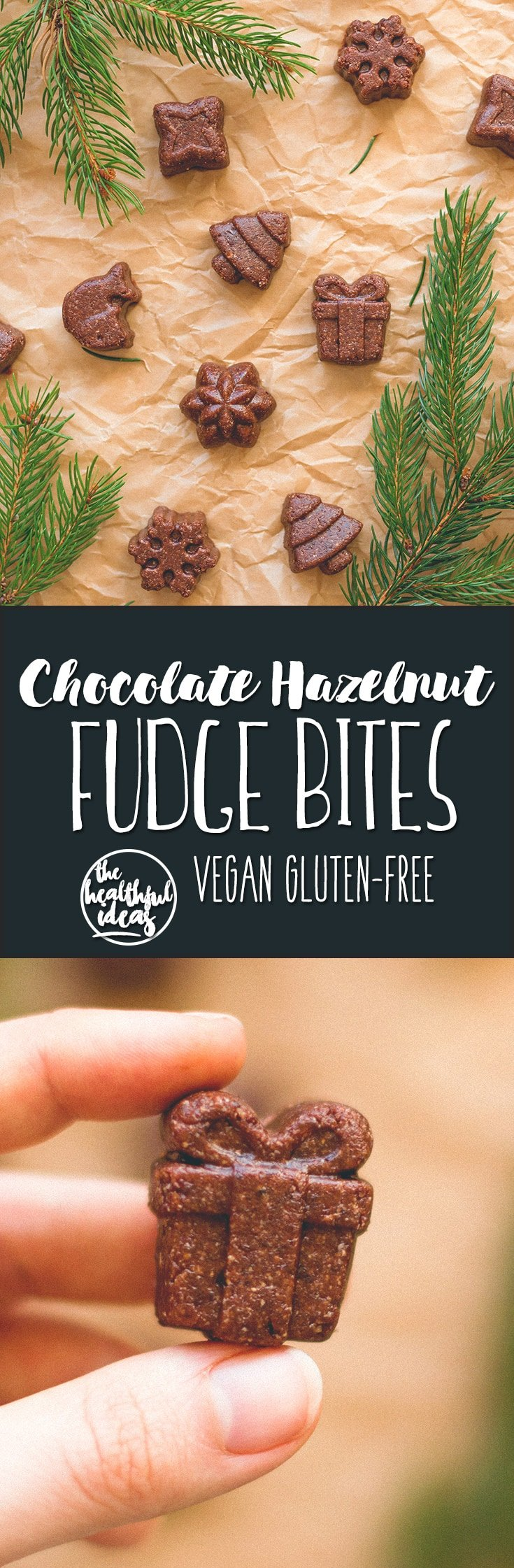 Chocolate Hazelnut Fudge Bites - delicious vegan & GF festive treats (great for any time of the year, really). No added sugar, sweetened with dates! You'll love these! Such an easy recipe. | thehealthfulideas.com