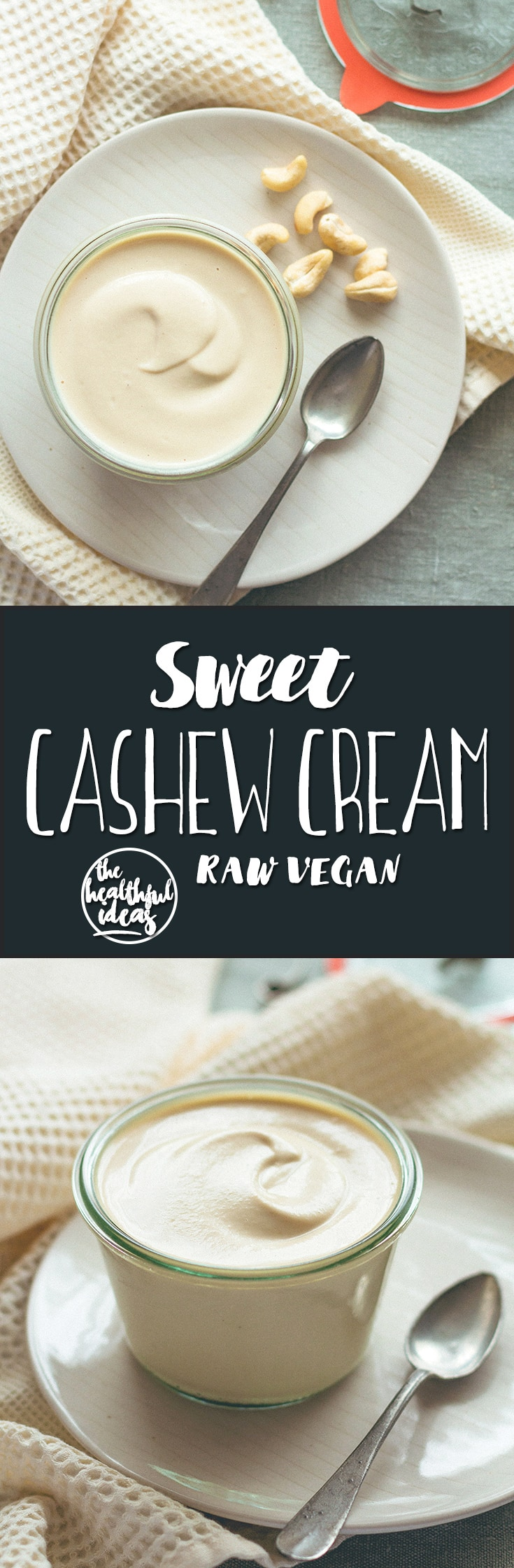 Sweet Cashew Cream - raw vegan and delicious! You'll love this recipe, it's super versatile! It's incredible how similar it is to dairy cream. | thehealthfulideas.com