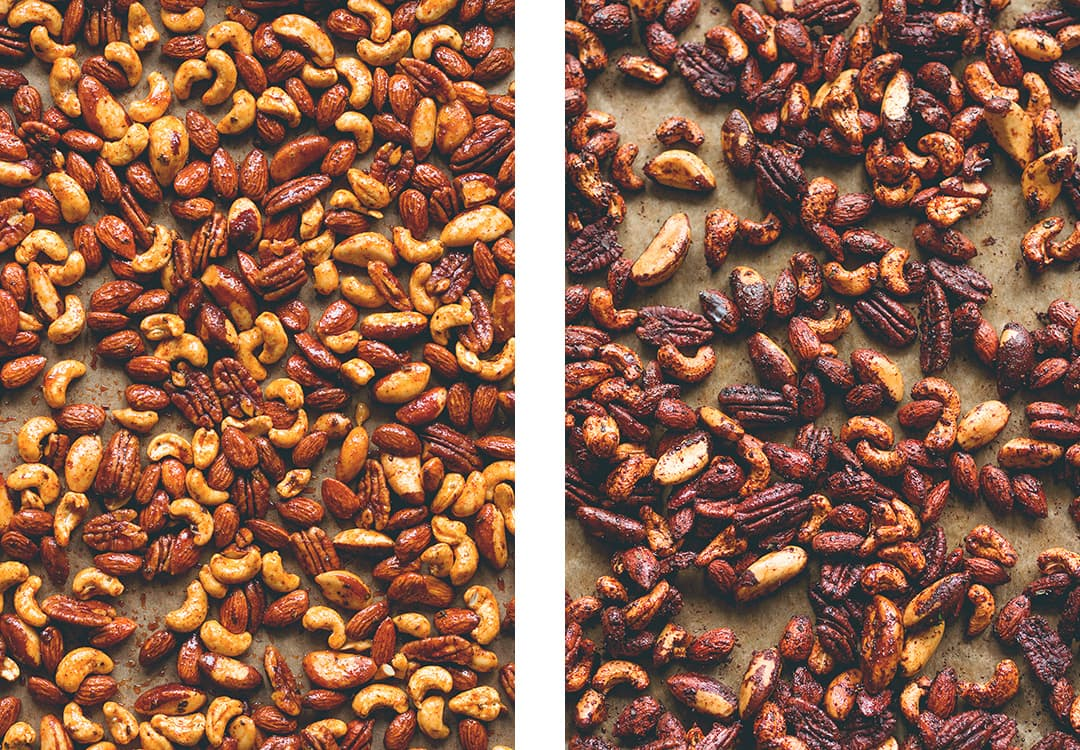 Chipotle Roasted Nuts - tasty sweet & spicy snack full of healthy fats and amazing flavor. Made with maple syrup, coconut oil, and spices. (V, GF)