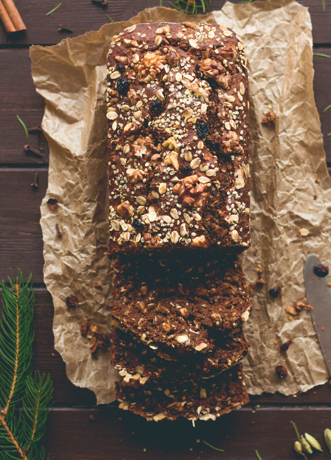 12 Christmas Recipes You Need to Make This Year: Gingerbread Banana Bread (vegan, GF) - the most delicious, comforting, healthy, and festive banana bread! I love this recipe. It's the perfect breakfast for Christmas Day morning. | thehealthfulideas.com