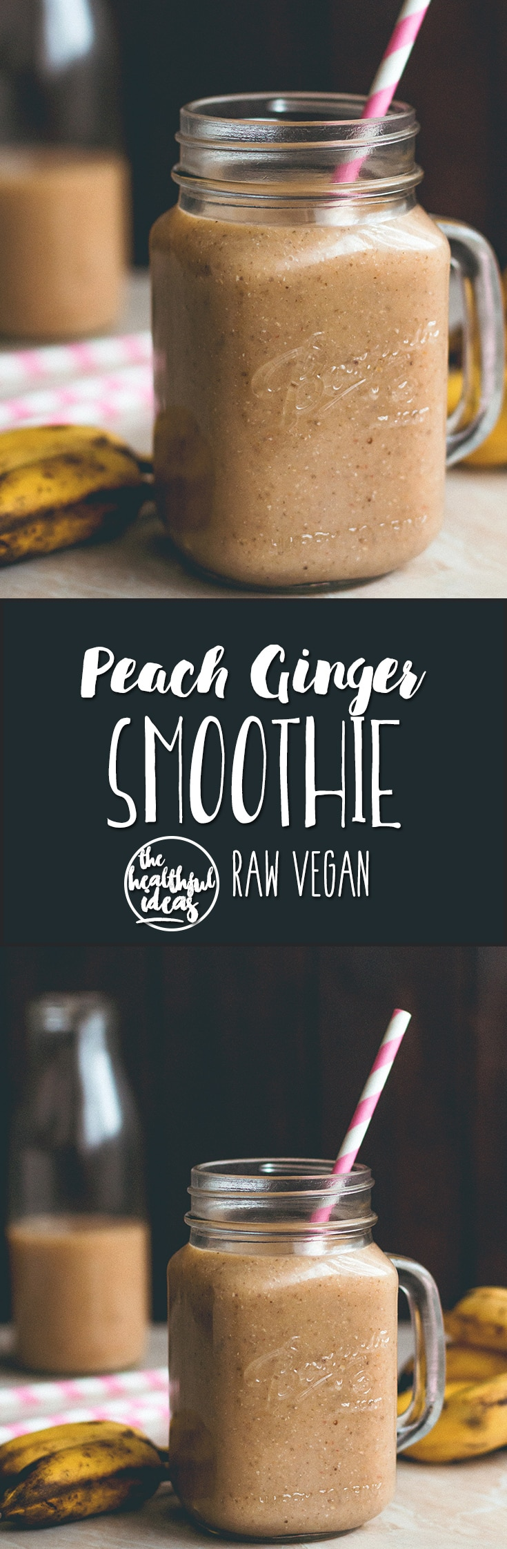Peach Ginger Smoothie - super refreshing, naturally sweet, and really nutritious! It's raw, vegan, and only takes a couple minutes to make! | thehealthfulideas.com