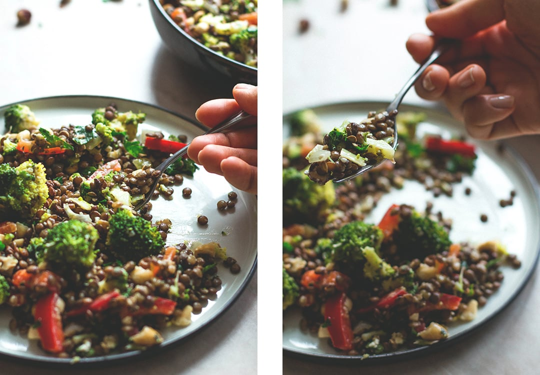 French Lentil Broccoli Salad (vegan, GF) - you totally have to try this delicious salad recipe! It's fresh, it's full of flavor and absolutely scrumptious! | recipe by @healthfulideas thehealthfulideas.com