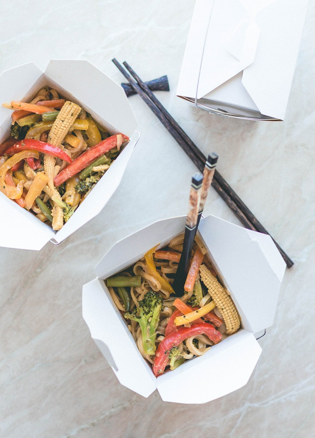 Vegetable Stir Fry with Rice Noodles and Sunflower Seed Sauce - delicious vegan stir fry with peanut-free sauce made with tamari, sunflower seed butter, maple syrup, sesame oil, and ACV. You'll love this recipe! | thehealthfulideas.com