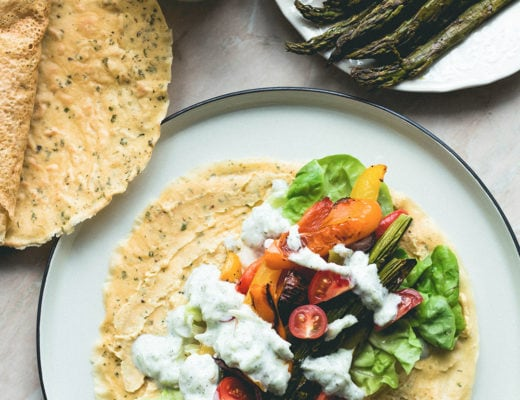 Chickpea Flour Crepes with Roasted Vegetables, fresh vegetables, and homemade sheep tzatziki! With a vegan option too! | thehealthfulideas.com