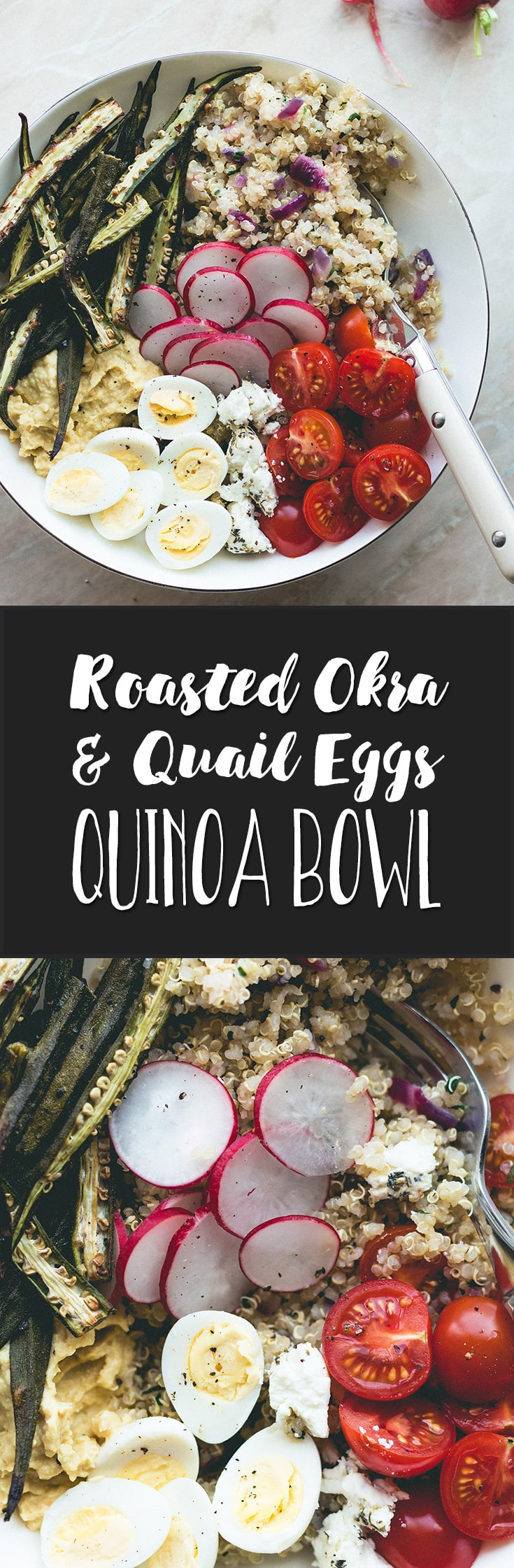 Roasted Okra, Quail Eggs, and Herbed Quinoa Bowl (vegetarian) - because bowl food is the best! Easy to make and really good for lunch, dinner or even breakfast! | thehealthfulideas.com