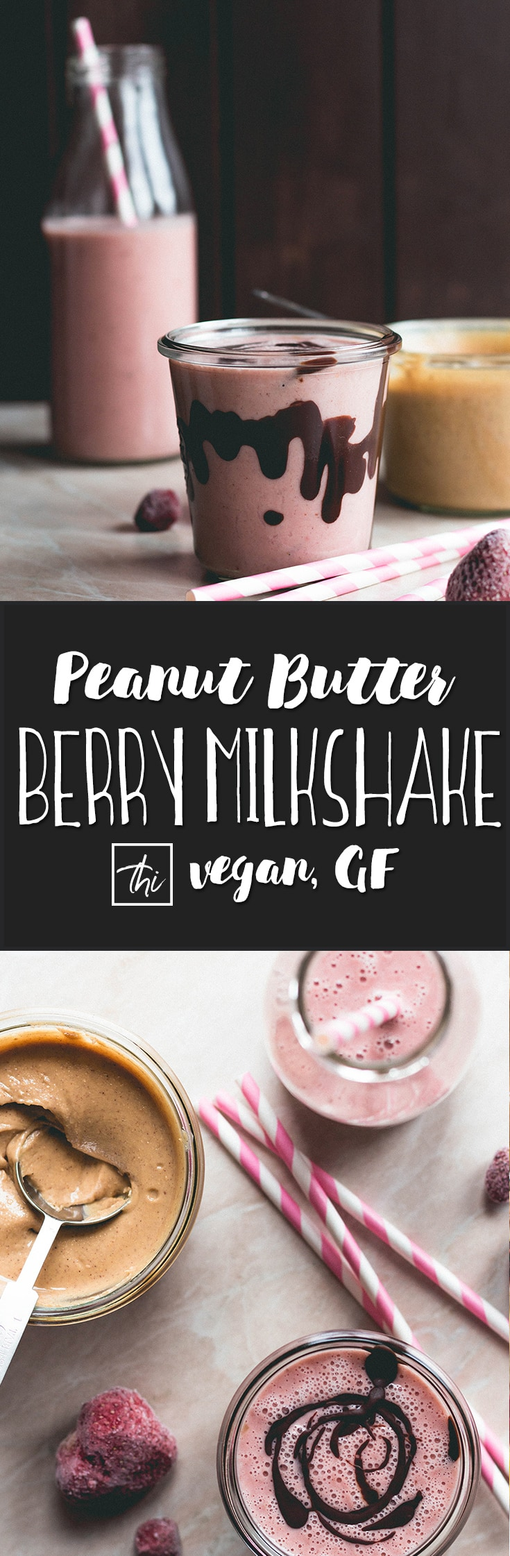 Wild Peanut Butter Strawberry Milkshake (vegan, GF) - delicious almond strawberry & raspberry milkshake made with roasted wild peanut butter. | thehealthfulideas.com