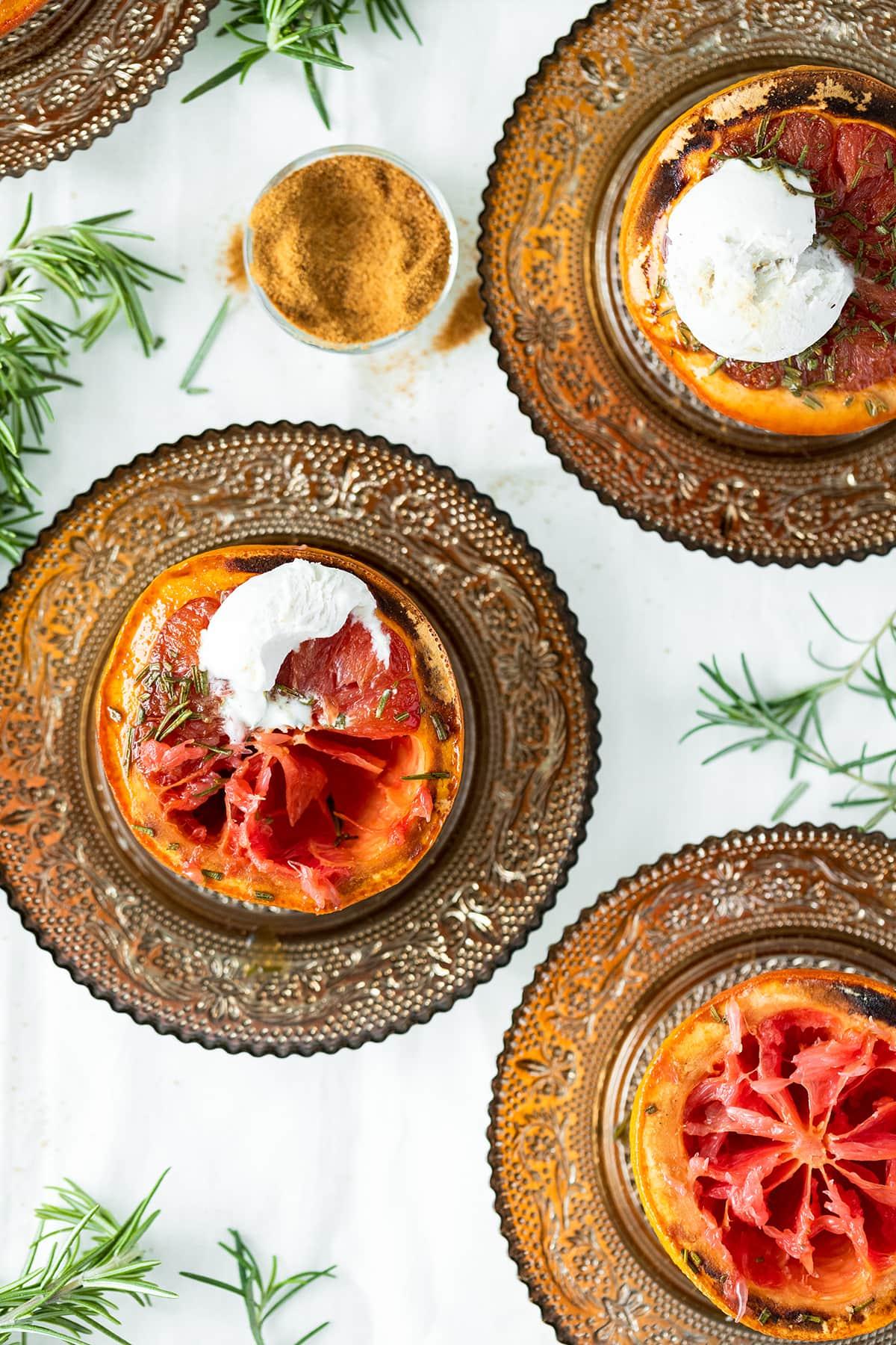 Broiled Grapefruit with Rosemary, Coconut Sugar, and Vegan Vanilla Ice Cream - The Healthful Ideas