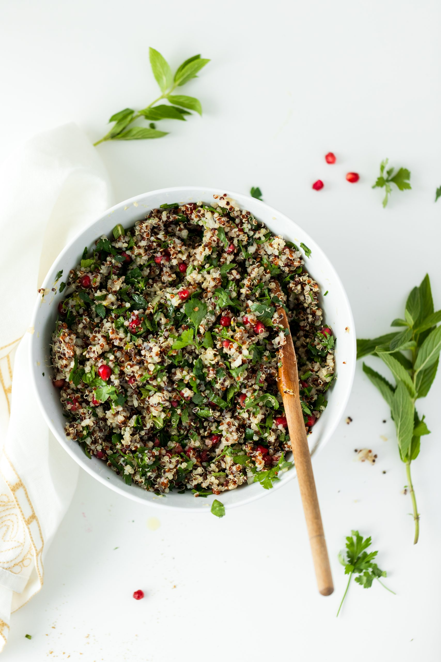 Quinoa Salad with Parsley and Pomegranate Seeds
