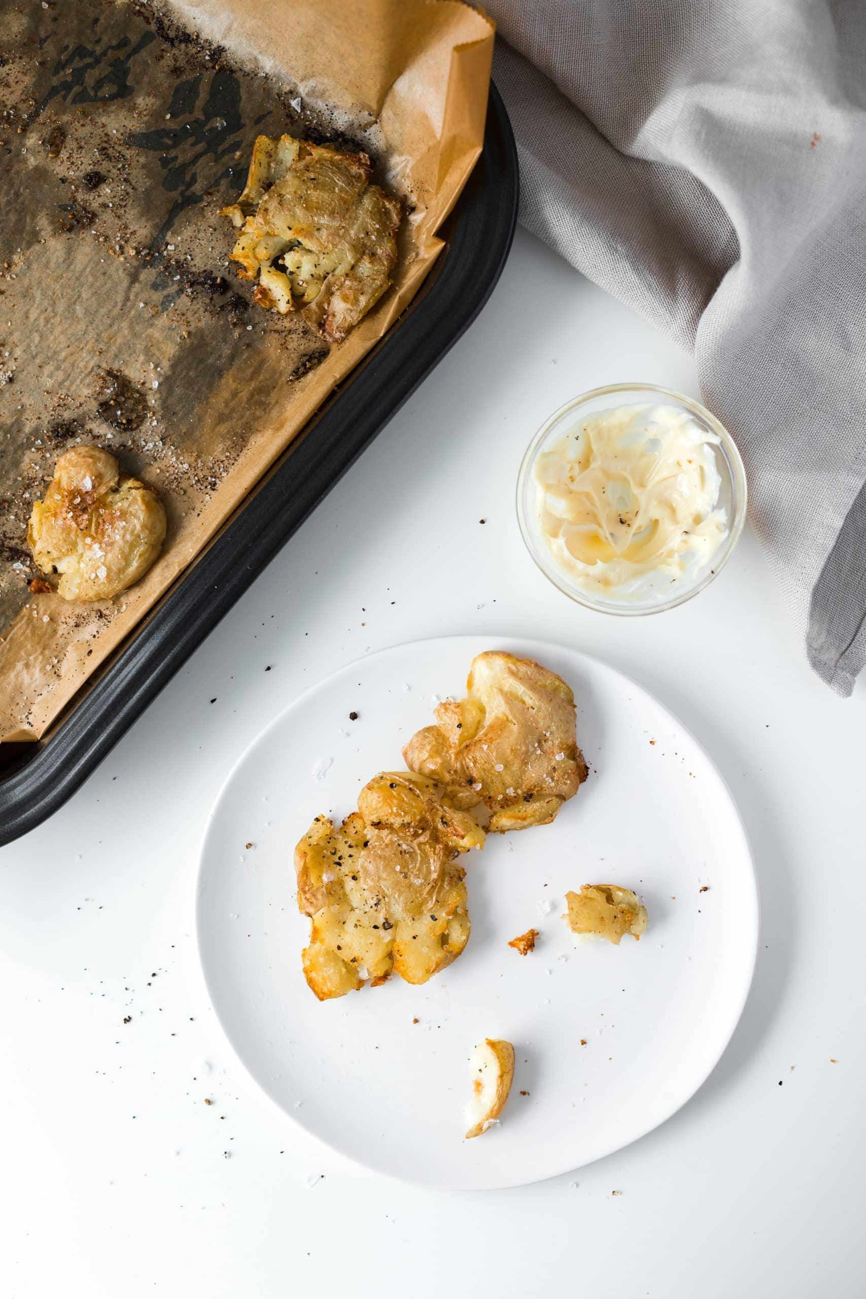 Crispy Smashed Potatoes with Garlic Aioli