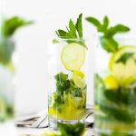 Head on shot of mojito with mint leaves