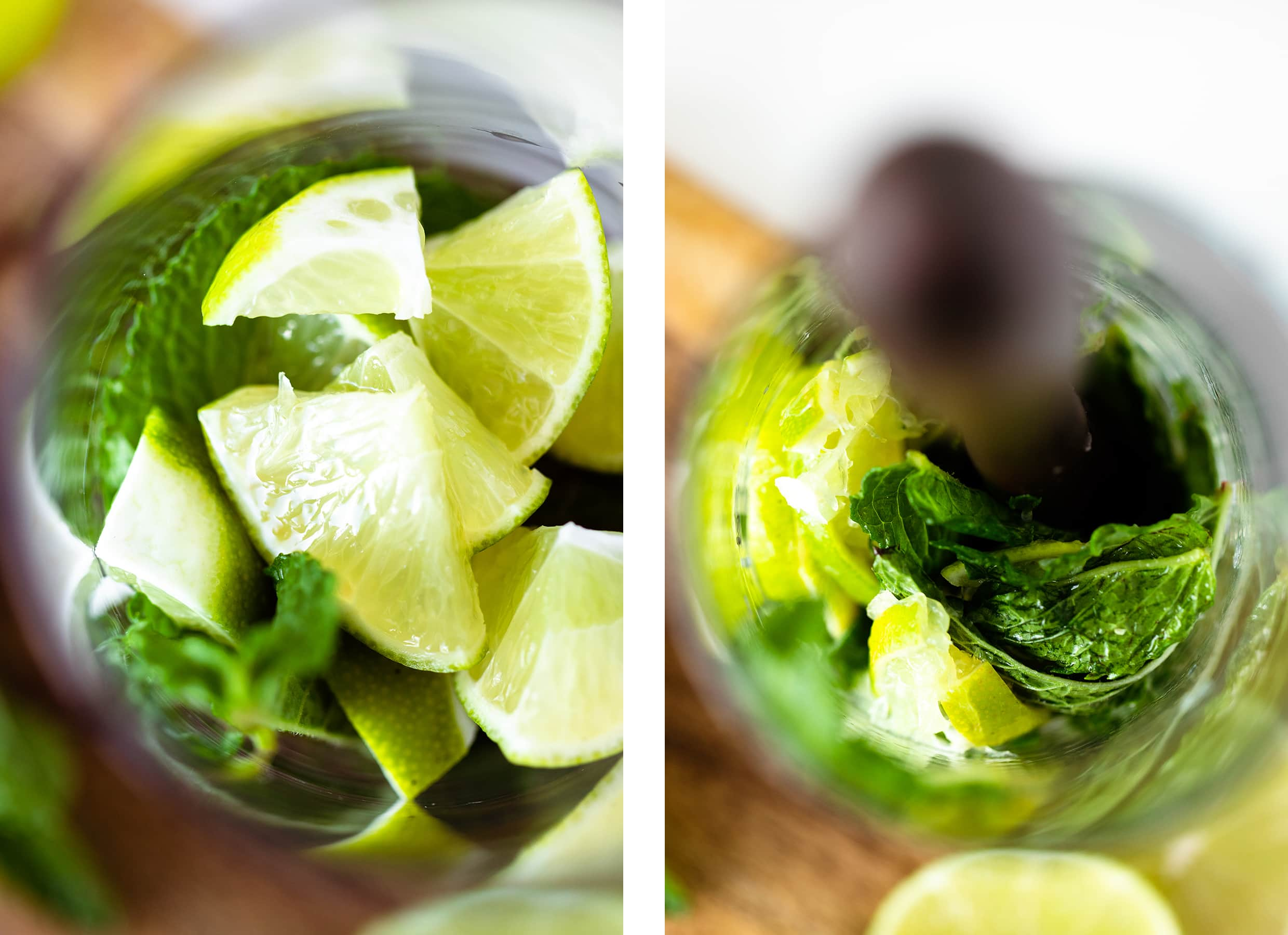 A close up image of mint leaves and cut up limes