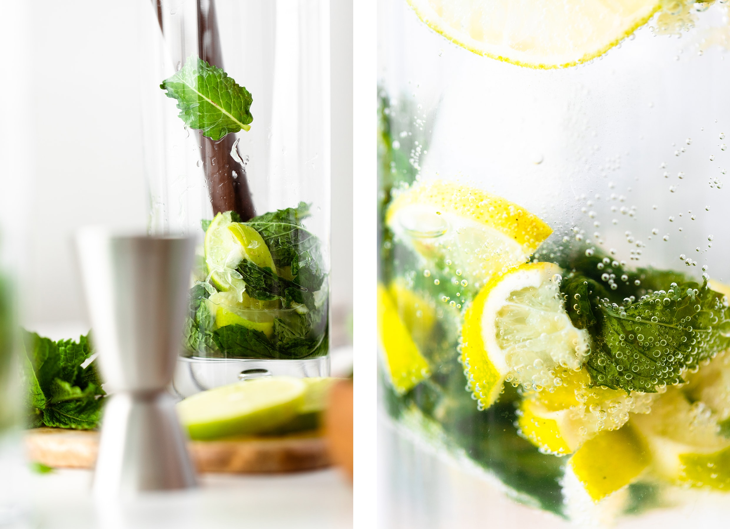 Two photos - one is of a tall glass with crushed lime wedges, mint, and agave. Second photo is a close up of a mojito.