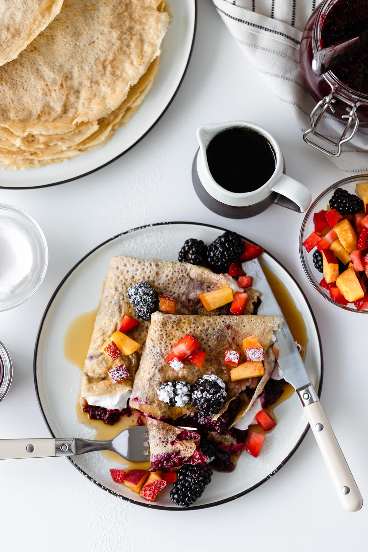 Gluten-free Crepes with Lavender Blackberry Jam