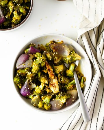 Miso Roasted Broccoli with red onion and toasted sesame seeds