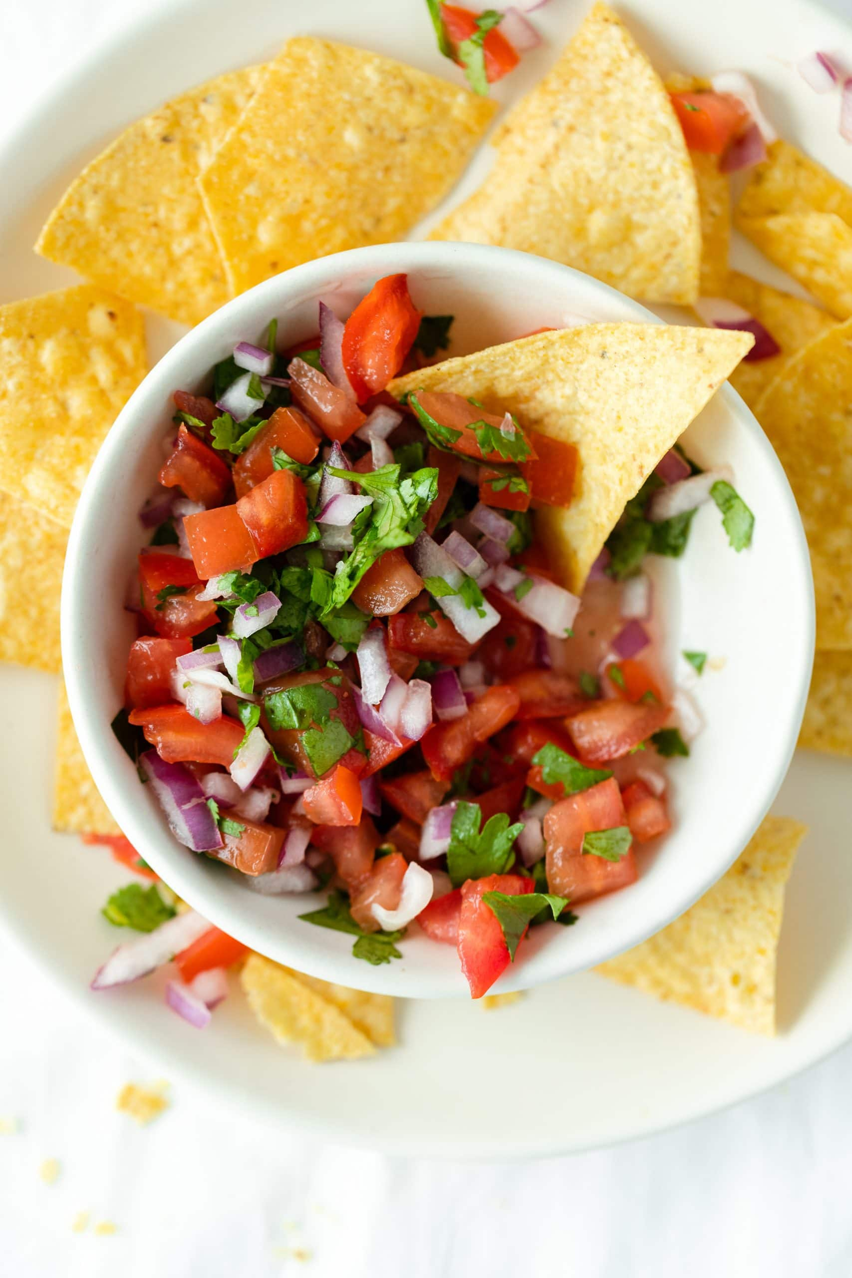 Pico de Gallo served with tortilla chips