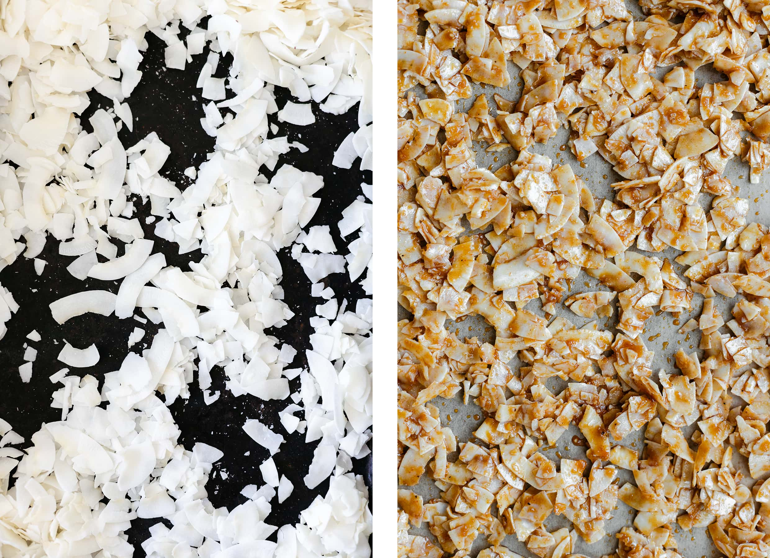 Two photos of coconut flakes on a baking sheet - one plain and one with dressing