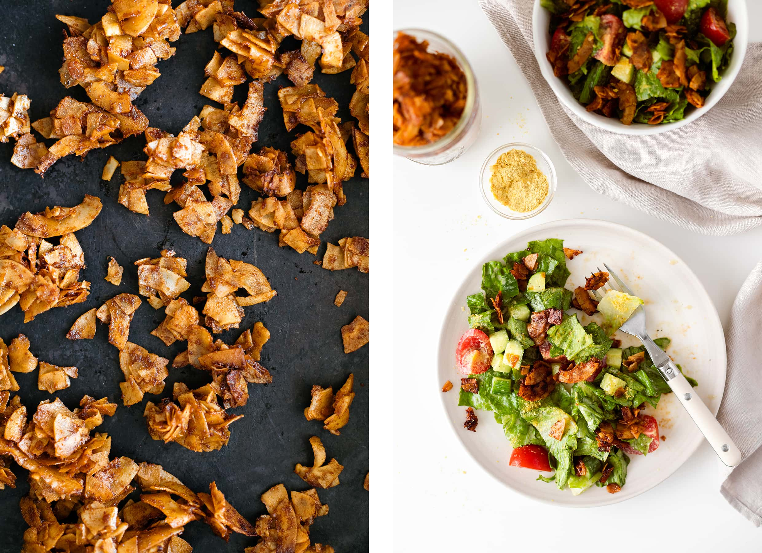 Two photos - one of vegan coconut bacon on a baking sheet and one of a green salad with coconut bacon
